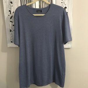 Men's Zara soft knit  blue short sleeve shirt